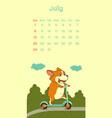 2018 july calendar with welsh corgi dog vector image