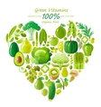 Vegetarian food icon set with organic fruits and vector image