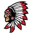 American native chief head mascot vector image