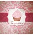 Cupcake invitation background vector image