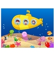 Happy kids in submarine vector image