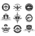 monochrome military emblems set vector image