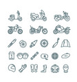 motorcycle auto parts and motorbike accessories vector image