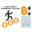 person climb bitcoins flat icon with vector image