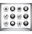 Set of grey new year buttons vector image
