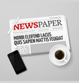 News concept with newspaper pan coffee vector image