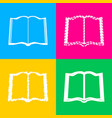 book sign four styles of icon on four color vector image
