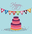 Happy birthday cake pennant decoration confetti vector image