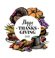 Thanksgiving Day background Vintage typographic vector image vector image