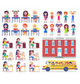 children during lessons and ride in school bus vector image