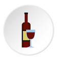 glass of red wine and a bottle icon circle vector image