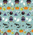 Halloween seamless pattern with festive objects vector image