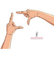 Hands shaped in viewfinder detailed vector image