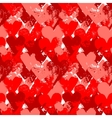 Red painted hearts on white seamless pattern vector image