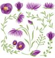 Watercolor floral set vector image
