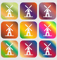 Mill icon Nine buttons with bright gradients for vector image