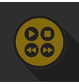 yellow round button four music control buttons vector image