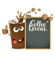 banner with cheerful cup of coffee and blackboard vector image vector image