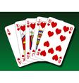 Poker hand - Royal flush heart vector image