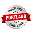 Portland round silver badge with red ribbon vector image