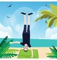 man handstand with one hand in beach exercise fun vector image