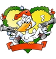 Hand-drawn of an angry christmas duck vector image vector image