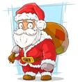 Cartoon funny santa claus with beard vector image