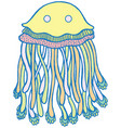 cartoon jellyfish in pastel tumblr colors vector image