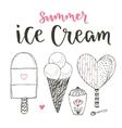 Collection of cartoon ice cream set Cones vector image