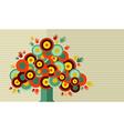 Colorful vintage hand tree design vector image