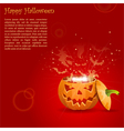 greeting card halloween with evil spirits emitted vector image