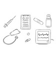 hand drawn doctor tool set vector image