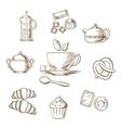 Tea and dessert pastry sketch vector image