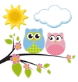 Two owls on the branch vector image