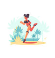 young attractive girl running vector image
