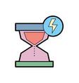 hourglass with energy hazard symbol vector image