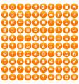 100 patisserie icons set orange vector image