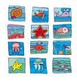 marine underwater icons vector image vector image