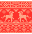 Embroidery red Christmas pattern vector image