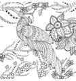Cute parrot in fantasy garden vector image