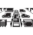 Cargo handling in warehouse vector image