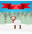 Christmas sheep in the winter forest vector image