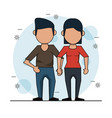 color background with faceless couple in casual vector image