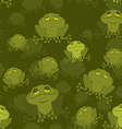 Frog seamless pattern Green Toad in swamp Many vector image