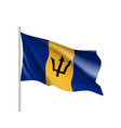 waving flag of barbados vector image