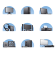 set of computers and electronics devices icons vector image vector image