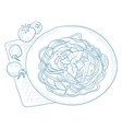 Spaghetti with basil on plate vector image