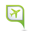 Map pointer with airplane icon vector image vector image