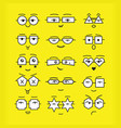 cute black emoticons faces with different vector image