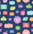 Colorful phrases seamless pattern on blue vector image